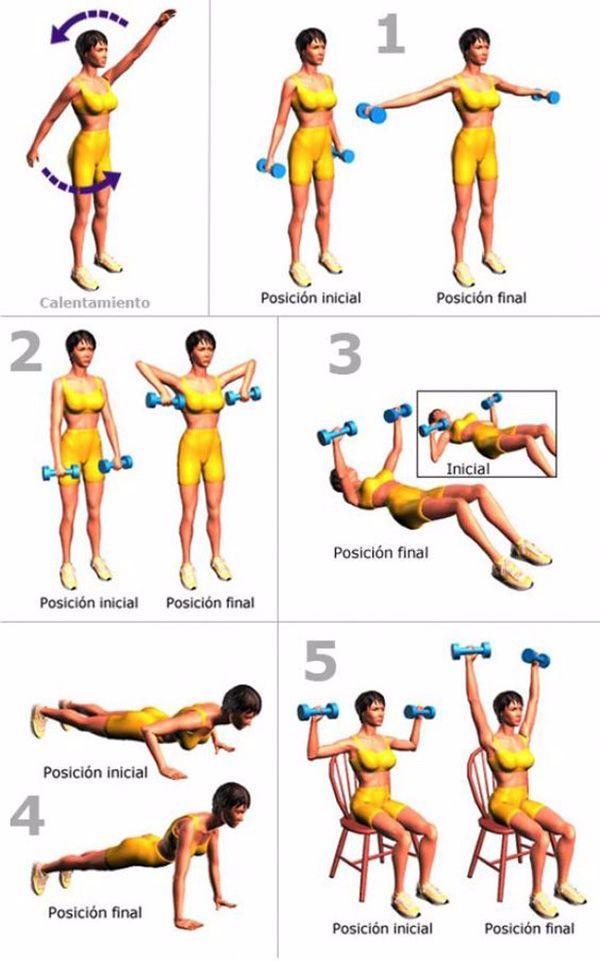 Tonifica tus brazos y desazte de esa molesta flacidez que cuelga de ellos #infografias #brazos #ejercicios #fitness