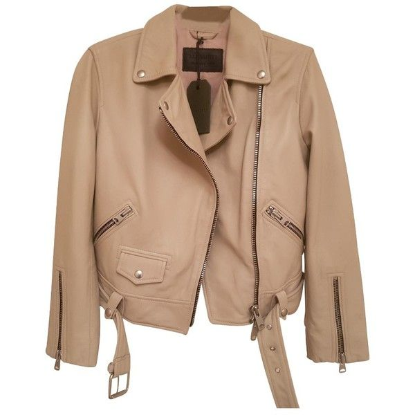 Pre-owned COLE LEATHER BIKER JACKET ($290) ❤ liked on Polyvore featuring outerwear, jackets, cream, beige leather jacket, leather moto jacket, moto jacket, biker jackets and asymmetrical zip jackets