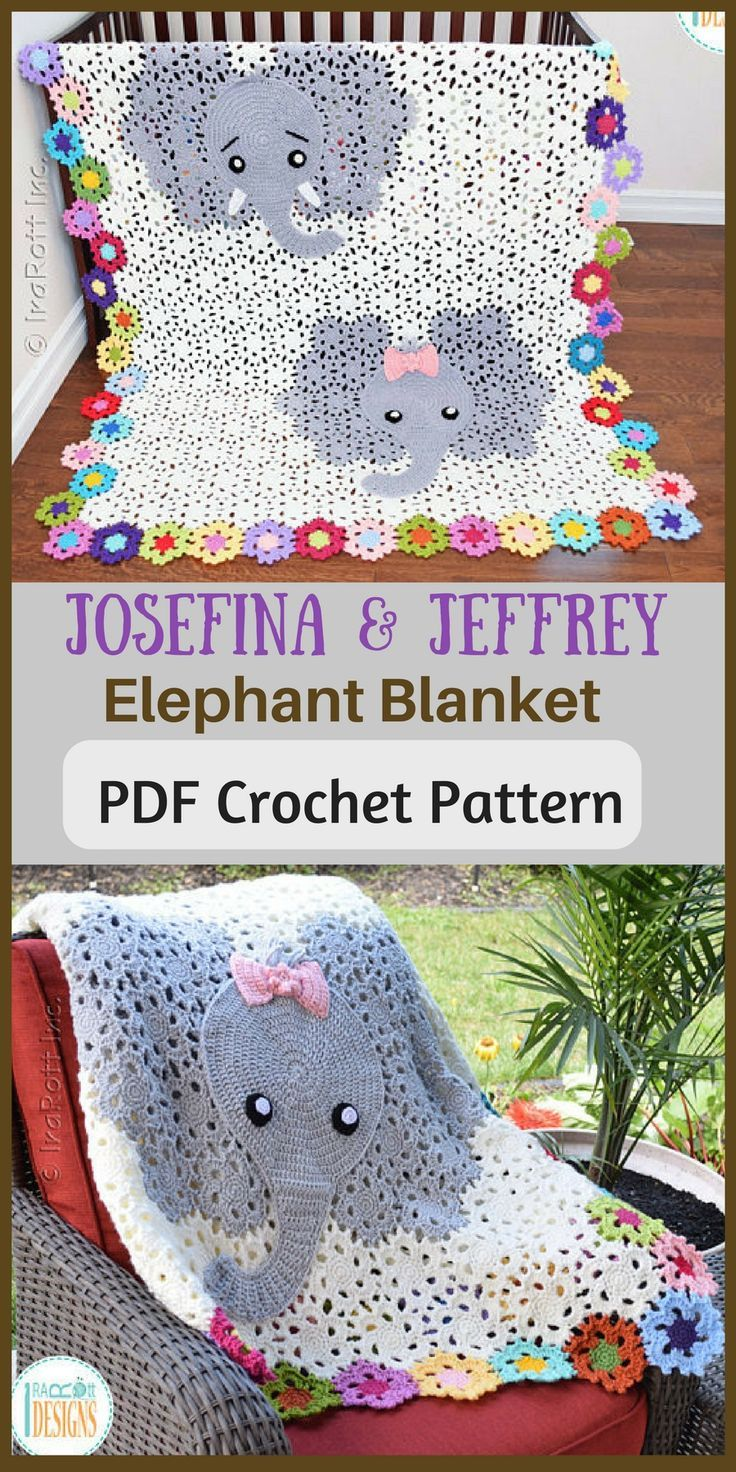 Josefina and Jeffery Elephant Blanket- PDF Crochet Pattern with Instant Download. #crochetpattern #elephantcrochet #afflink