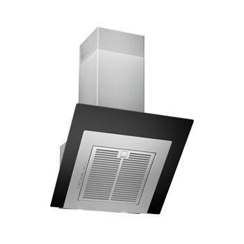 Design Abzugshaube 60cm Schwarzes Glas