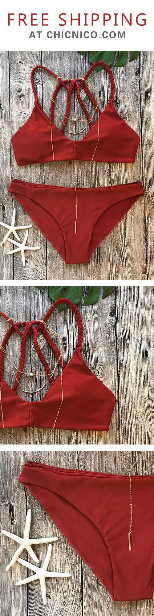 $23.99 for hot days at CHICNICO.com ! It is perfect for the beach and a total stand out piece in the coming summer.  Cute Bandeau Red Bikini Set Swimsuit