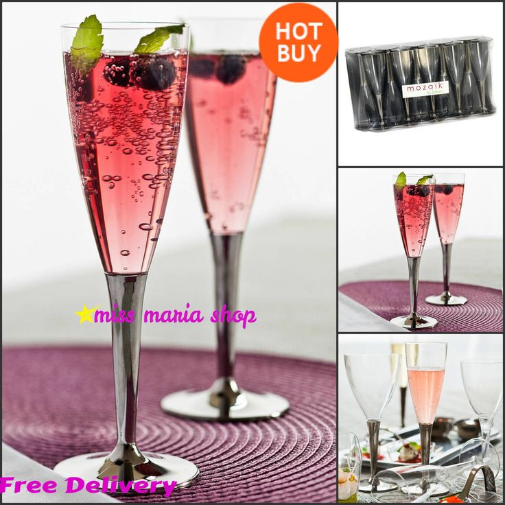 Plastic Champagne Flutes Disposable Party Silver Stem Reusable Wedding Event 100