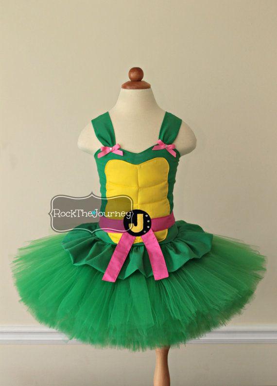 Pink Turtle Ninja Costume - Teenage Super Hero Birthday Party Tutu Dress - Child Halloween Outfit - Pageant - Mutant Cake Smash