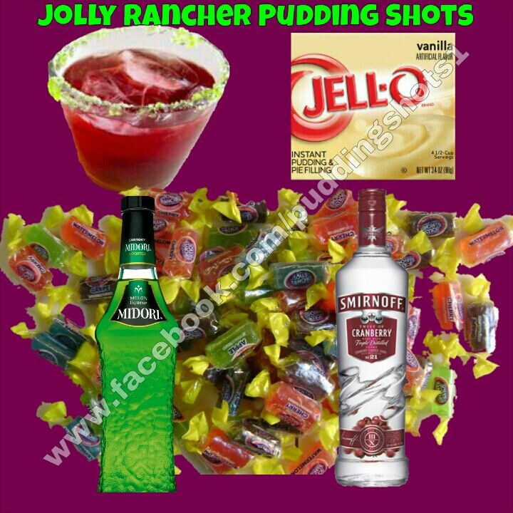 Jolly Rancher Pudding Shots.  See full recipe and more on www.facebook.com/puddingshots1
