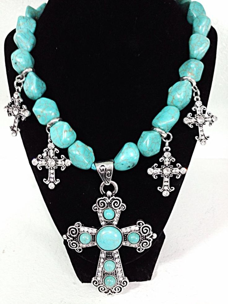 Women Western Turquoise Cross Necklace Earring Set Rhinestone Cowgirl Bling Blue Bhw Cowgirl