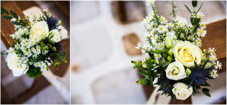 Beautiful bouquet down the aisle..chamomile, white roses and wild flowers