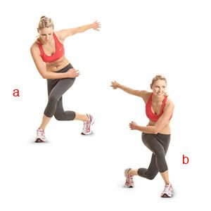 Speed Skater -slide/leap from side to side -swinging opposite leg behind you -protect the knees and if it becomes to much do not go down as low OR change the exercise to a basic 'march in place' if you have knee issues