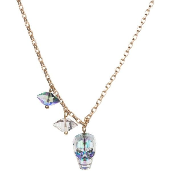 Nadia Minkoff - Crystal Skull & Double Spike Necklace Crystal Paradise (£20) ❤ liked on Polyvore featuring jewelry, necklaces, chain necklace, beaded flower necklace, crystal flower necklace, beaded necklaces and crystal stone necklace