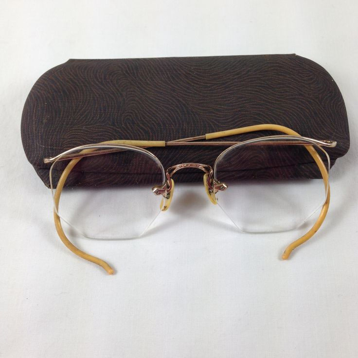 Vintage Antique Bausch and Lomb Rimless Gold Filled Eyeglasses Frames With Case ~ 1940's Vintage Eyeglasses ~ Granny Glasses ~ by SimplyAgain on Etsy