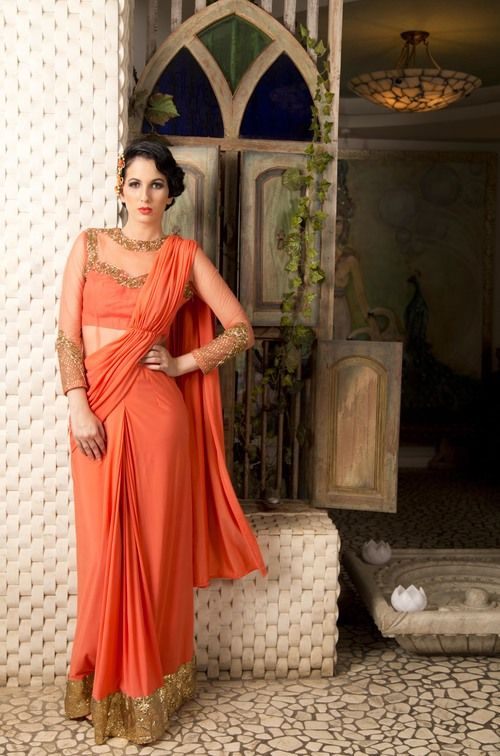 Chhavvi Aggarwal Coral Stitched Saree Gown now available through http://www.waliajones.com/chhavviaggarwal/ #indiandesigner #indian #indianfashion #hindifashion #desifashion #indianwedding #australiaclothes #australianindian #indianclothesonline #online #eboutique #waliajones #saree #sareesonline #saris #sari #lehenga #lehengas