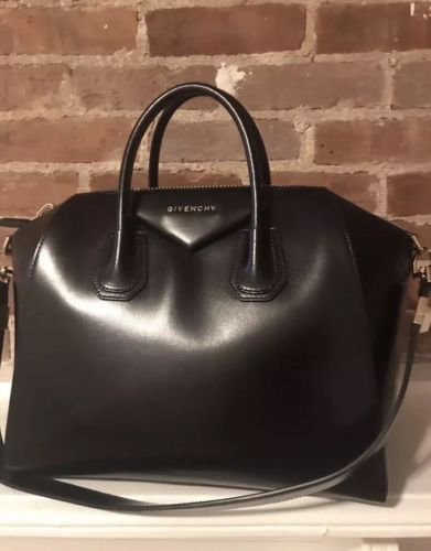d0448bf49b01 GIVENCHY Antigona Medium Black Leather Satchel Bag, Gold Hardware, MSRP  $2,450