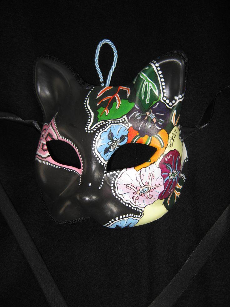 Venetian Artistic Mask. www.artjennifer.wordpress.com  #Venezia #Maschere #Venice #Masks #ArtisticMasks #VenetianMasks #Art #AcrilicPaintings #Carnival #JenniferEgista  #CatMask