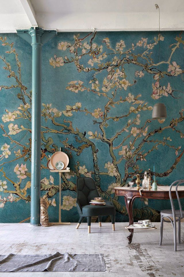 Do you admire Van Gogh's paintings? This art wallpaper mural is both sophisticated and charming. Vincent Van Gogh found such beauty and joy from the blossoming almond trees. You can now take the time to admire them with this stunning art mural. It's perfect for living room spaces looking for a touch of class.