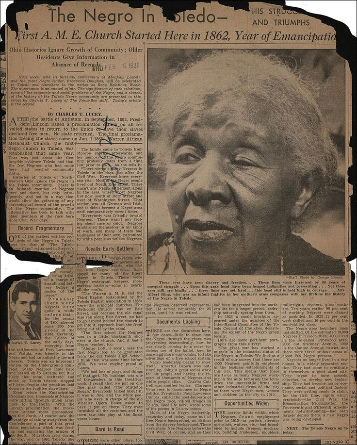 MEMORIES OF SLAVERY  2 Toledo women share slavery history Narratives recorded in mid-1930s  Read more at http://www.toledoblade.com/local/2016/02/21/2-Toledo-women-lent-voices-to-WPA-project.html#TIGsl6TEGXAtJS3P.99