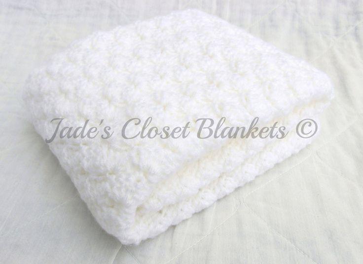 Crochet Baby Blanket, White Baby Blanket, Cloud White, Christening Blanket, travel pram stroller size by JadesClosetBlankets on Etsy https://www.etsy.com/au/listing/177989987/crochet-baby-blanket-white-baby-blanket