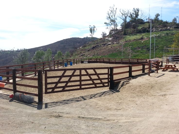 Horse Arena With Railroad Ties And Pressure Treated Wood Rails Backyard Makeover Horse Arena