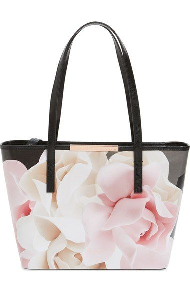 Ted Baker London 'Small Porcelain Rose - Joanah' Printed Leather Shopper…