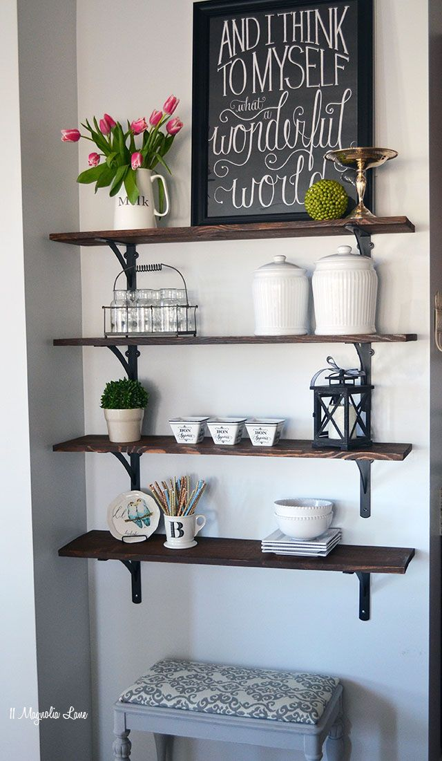 Tutorial for easy DIY open shelving by 11 Magnolia Lane: You just can't go wrong with this shelving. See how easy it is to make and try it yourself! Make sure you protect your project with Polyurethane -