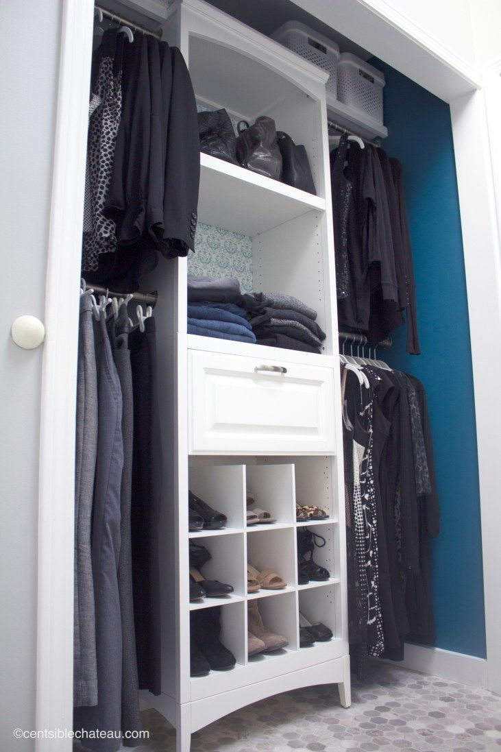 How to Improve Storage with an Elegant Closet Organizer. In this closet makeover you'll see how to maximize space in a small closet with a new closet organizer, space saving hangers and more. Plus see Oceanside Sherwin Williams paint we purchased at Lowe's!  #sponsored @lowes