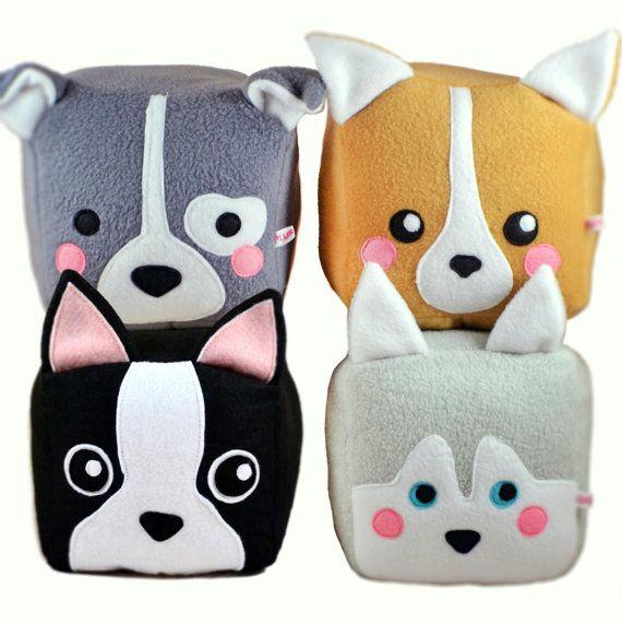 Dog cube plushie/Pitbull Bull Terrier / Corgi / Boston Terrier / Husky / Shiba Inu / Dog loaf plush toy
