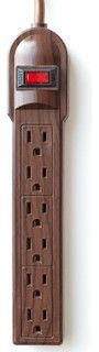 The Invisiplug DO003 6-Outlet Power Strip, Dark Oak - traditional - cable management - by Amazon