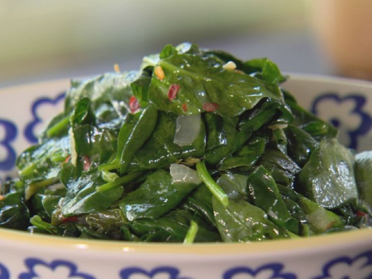 Sauteed Spinach with Bacon and Onions recipe from Ree Drummond via Food Network