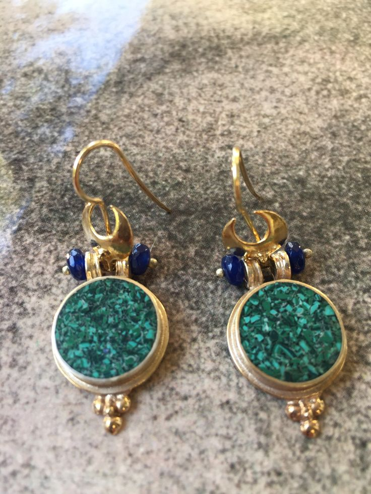 Earrings silver/gold plated with malachite mosaic workmanship