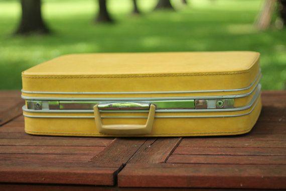 Yellow Samsonite Hard Shell Suitcase Hard Case by WildBoarDesigns