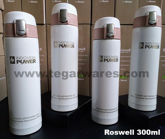 Roswell Promotional Vaccuum Flask 300ml         Roswell Vaccum Series double wall made of stainless steel 18/8 Food Grade Material BPA Free. Also available in brown color. Ideal to serve as promotional merchandise to share with your loyal customers. Appear image above ROswell 300ml Promotional Vaccuum Flasks with graffiti branding logo for Vendor Gathering event 2017 plus tagline Bersinergi Untuk Kesuksesan Bersama ordered by PT Indonesia Power UPJ 3 Kramat Lontar Tangerang Banten Indonesia