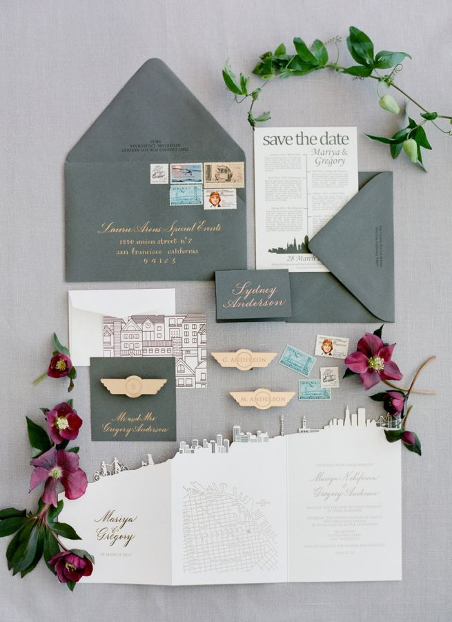 Gray, gold and berry wedding invitation suite: http://www.stylemepretty.com/2016/06/08/two-pilots-tied-the-knot-with-an-urban-chic-wedding/ Photography: Jose Villa - http://josevilla.com/