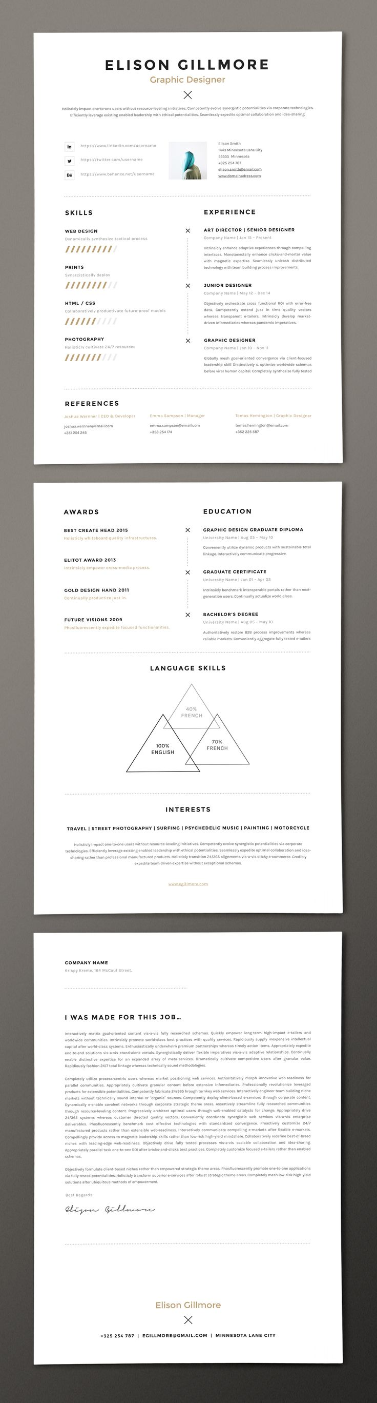 best ideas about cv pdf format lettre de unique resume cv template pages word on behance