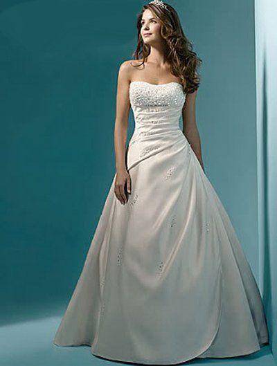 Vestidos De Novias elegante novo estoque eua tamanho 2 - 22 branco / marfim Beading lantejoulas sem alças De cetim uma linha vestido De casamento vestido De noiva alishoppbrasil