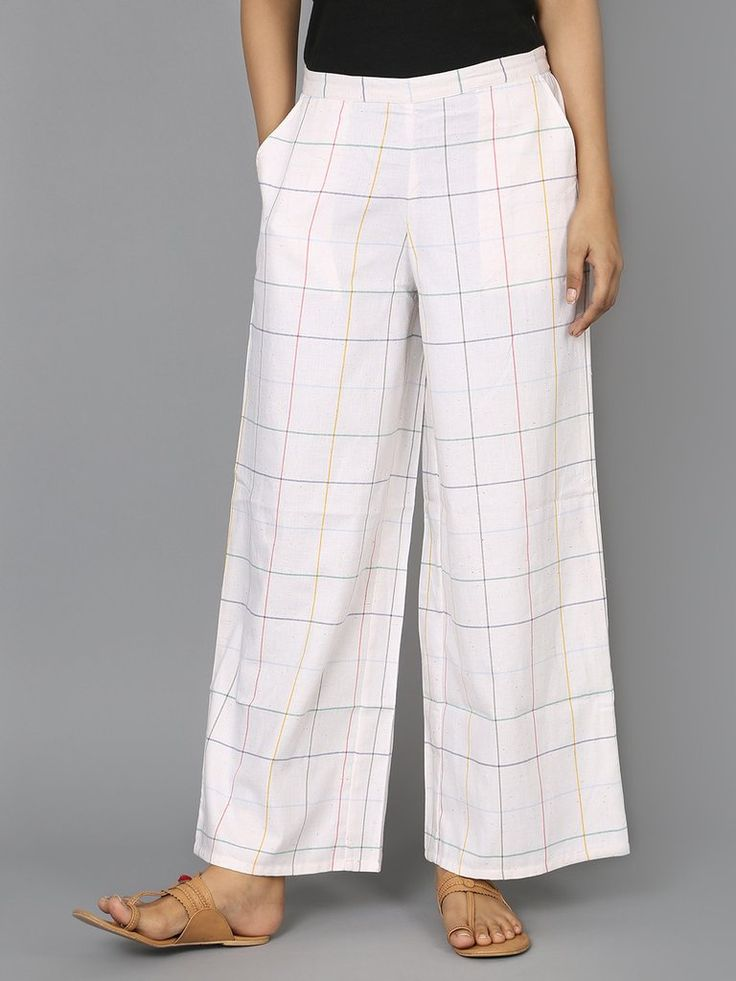 Off White Check Cotton Palazzo Pants - The Wooden Closet