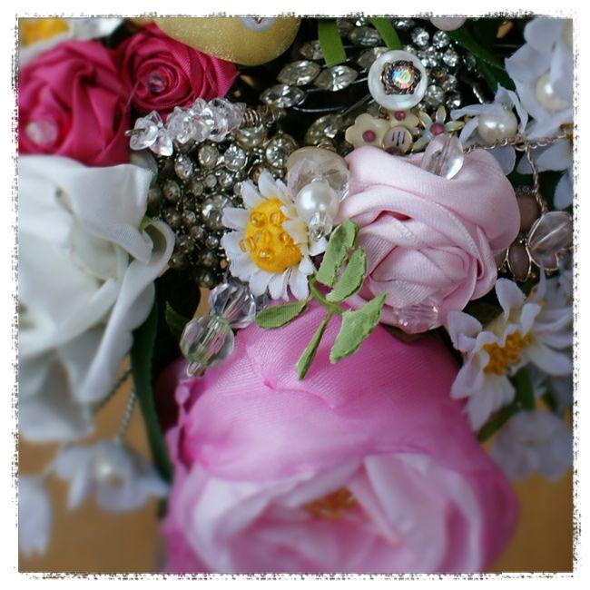 wedding bouquet for Michelle - vintage diamante, opal and enamel