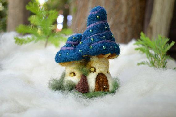 Needle Felted little mushroom house