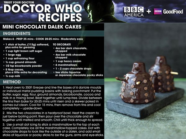 "Mini Chocolate Dalek Cakes.   This time the Daleks will be the ones getting ""exterminated""."