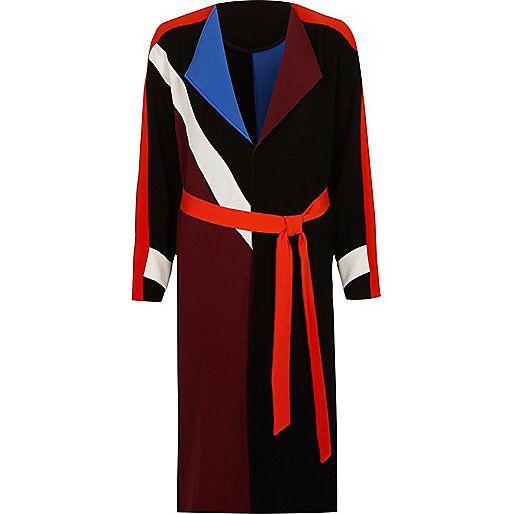 Black colour block belted duster coat - jackets - coats / jackets - women