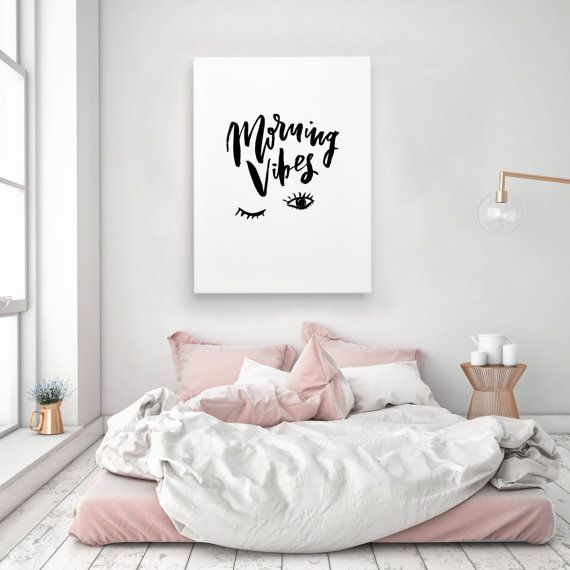 Morning Vibes Sleep Handwritten Handlettered Interior Bedroom Calligraphic Black White Quote Poster Prints Printable Wall Decor Art