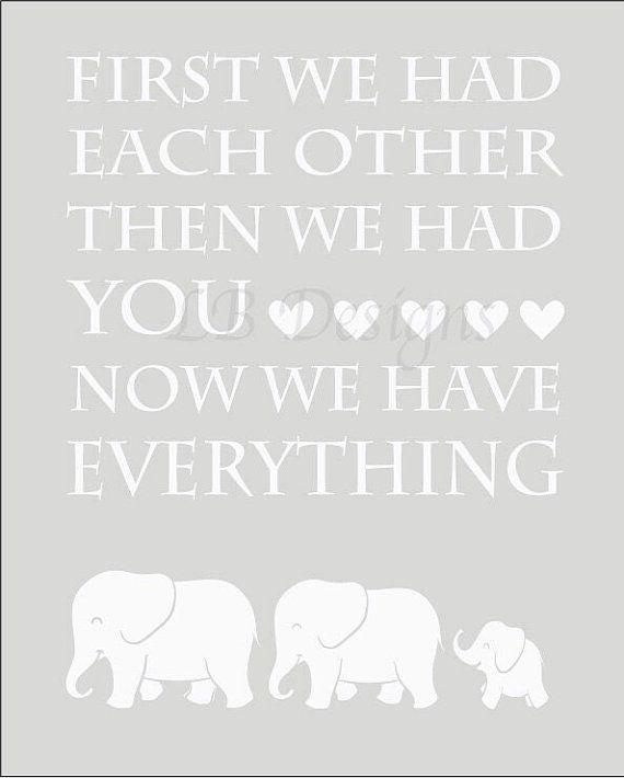 Gender Neutral Nursery Decor, Gray and White Elephant Nursery Print, Elephant Nursery Decor - 8x10
