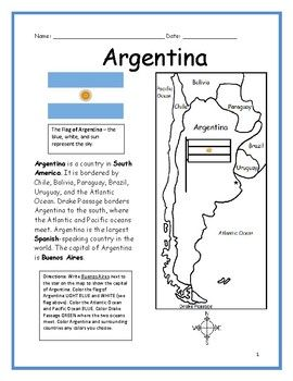 argentina printable handout with map and flag spanish for kids argentina argentina flag. Black Bedroom Furniture Sets. Home Design Ideas
