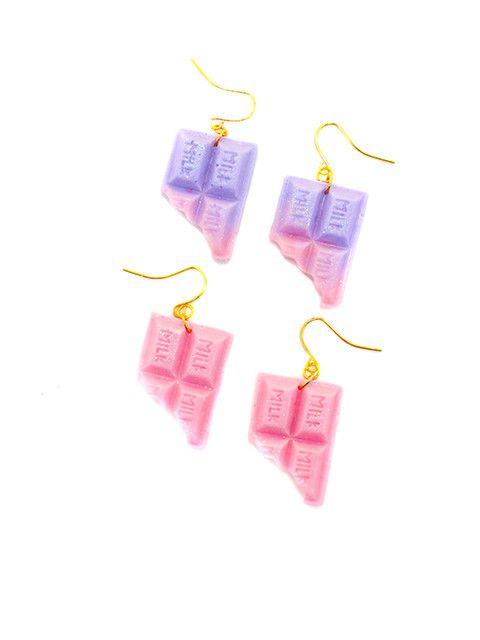 Pastel MILK Chocolate Dangle Earrings/Kawaii pastel jewelry/miniature jewelry