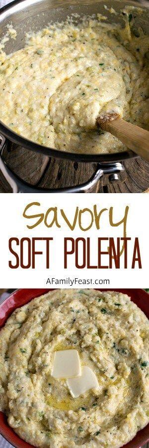 Savory Soft Polenta - Cheesy, creamy Italian comfort food!
