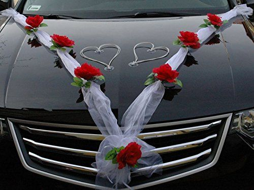ORGANZA M + HERZEN Auto Schmuck Braut Paar Rose Deko Dekoration Autoschmuck Hochzeit Car Auto Wedding Deko Ratan (Rot / Weiß / Weiß)