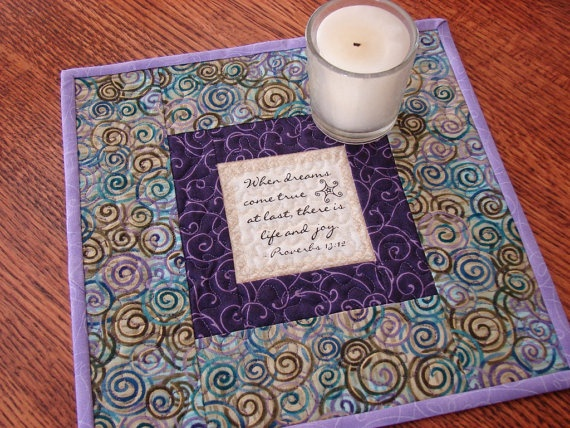 Mini Quilt Candle Mat Mug Rug with Proverbs Quote by
