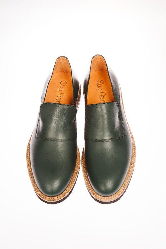 Stig 3 Bottle Green - Men's loafers in oak tanned leather