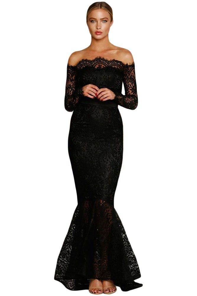 Eyelash Lace Off Shoulder Long Sleeve Mermaid Dress