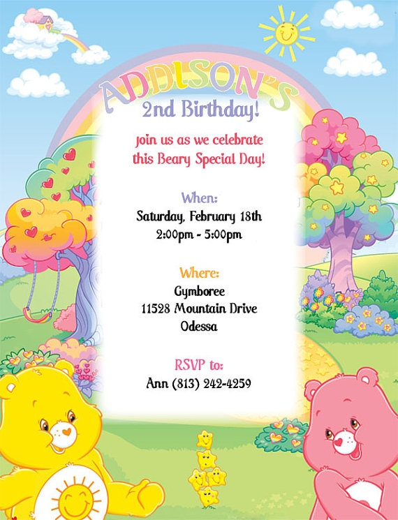 17 Best images about Care Bear Invitations – Care Bears Birthday Invitations