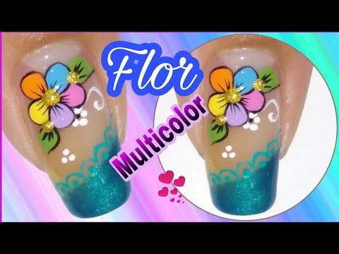Diseño de uñas flor multicolor - YouTube