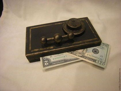 """Подарки для мужчин, ручной работы. Ярмарка Мастеров - ручная работа купюрница """" Сейф"""" шкатулка для денег. Handmade."""