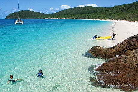 Bareboating (where you hire a yacht and sail it yourself for about a week), in the Whitsunday islands... discover secluded beaches on the islands